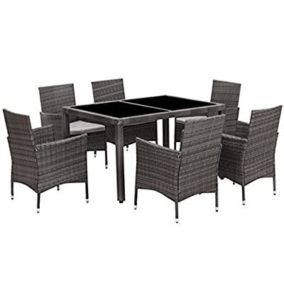 7 Piece Patio Wicker Dining Set,Outdoor Rattan Dining Table Chair Furniture set with Cushion