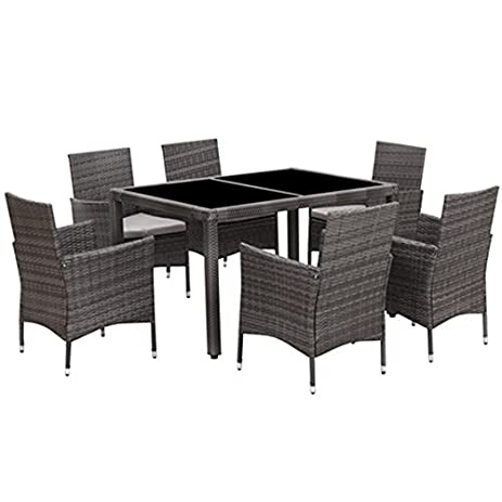 7 piece patio wicker dining setwisteria lane outdoor rattan dining furniture glass table cushioned