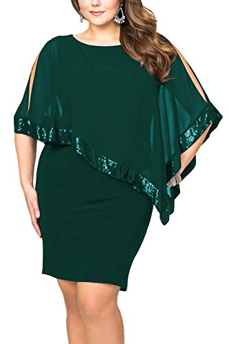 Alaster Queen Sequined Overlay Party Dress Chiffon Poncho Slit Sleeve Pencil Cocktail Mini Dress (Green-Plus, Plus-5XLarge)