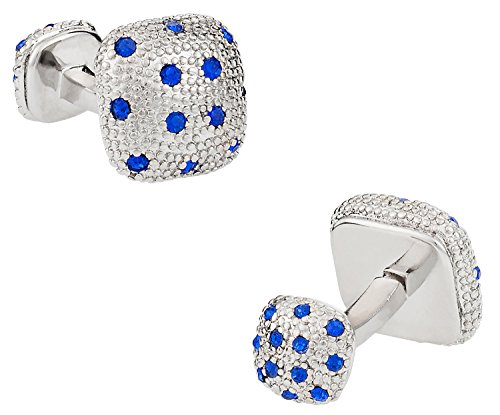 - Cuff-Daddy Double Sided Blue Crystal Pave Silver Cufflinks with Presentation Box