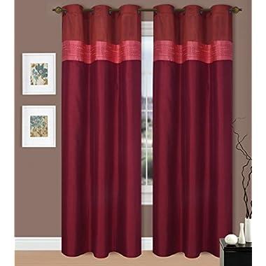GorgeousHomeMany Colors 1 Silky Window Drape Curtain Treatment 2 Tone Valance Design 50  X Wide 84  Length Jenny's (Burgundy / Rust)