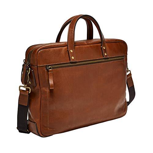 (Fossil Mens Haskell Double Zip Workbag Cognac)