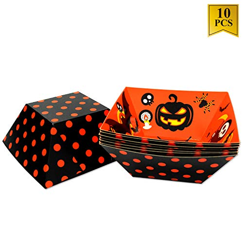 10Pcs Halloween Bowl Paper Food Tray for Halloween Party Candy Bowl Prefect for Food Tray, Snack Food Bowls for Halloween, Birthday, Picnic, Party, 11.8 x 11. x 0.3 Inches