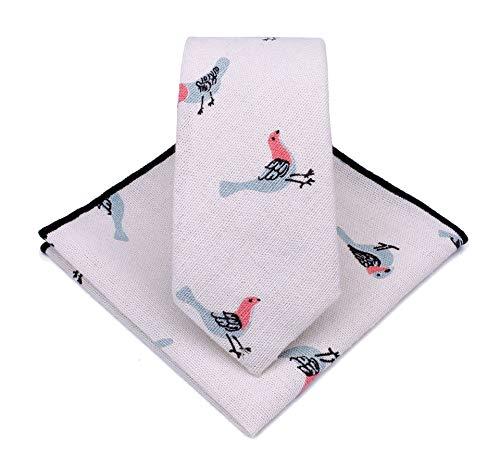 Levao Skinny Tie Men's Vintage Pattern Linen Cotton Neckties, Pocket Square Set 210199 Bird-D