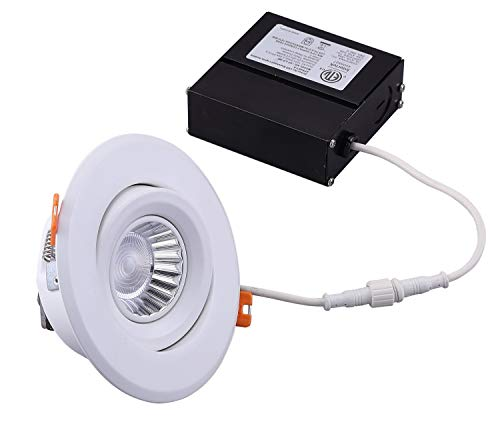 Cloudy Bay 4inch LED Recessed Light with Junction Box,Gimbal Retrofit Downlight Dimmable,9W CRI90 Warm White 3000K, Beam Angel 50°, IC Rated, Damp Location