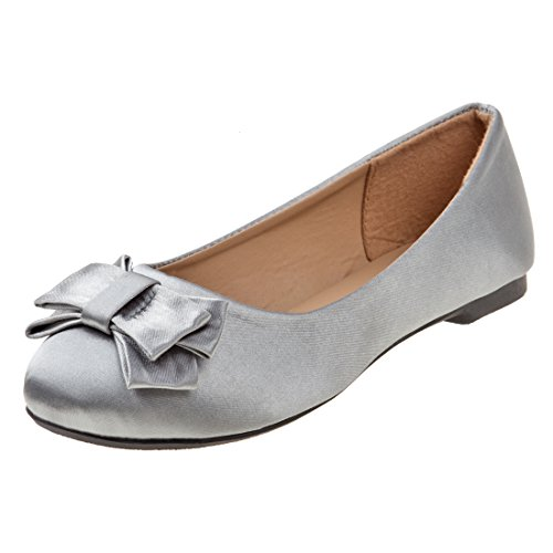 Rugged Bear Girl's Satin Ballet Flat With Bow, Gray, 12 M US Little Kid' by Rugged Bear