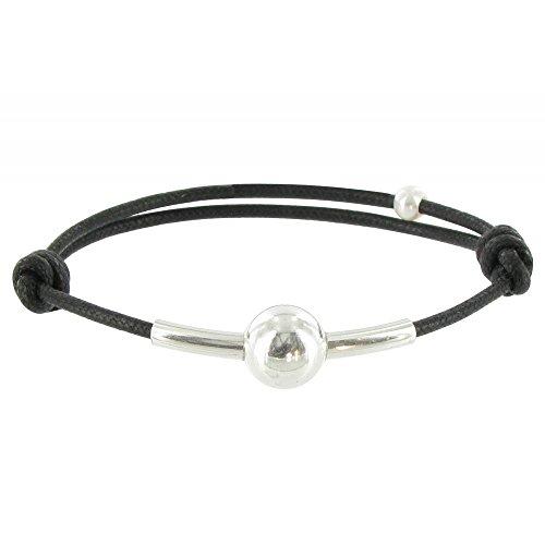 Les Poulettes Bijoux - Bracelet Lien Bulle Argent Lien Noir