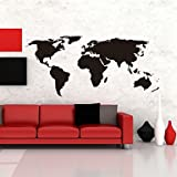 SK- Map Wall Stickers Big Global World Map Atlas Vinyl Washable Wall Decals , Black