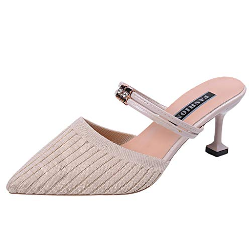 - GINELO Women Ladies Fashion Shallow Solid Thin Heels Mesh Slip On Sandals Causal Ankle Slipper Shoes Beige