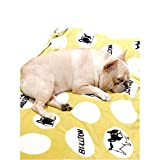 Cheap Frenchie French Bulldog Super Soft Fleece YELLOW Pet Bed Blanket
