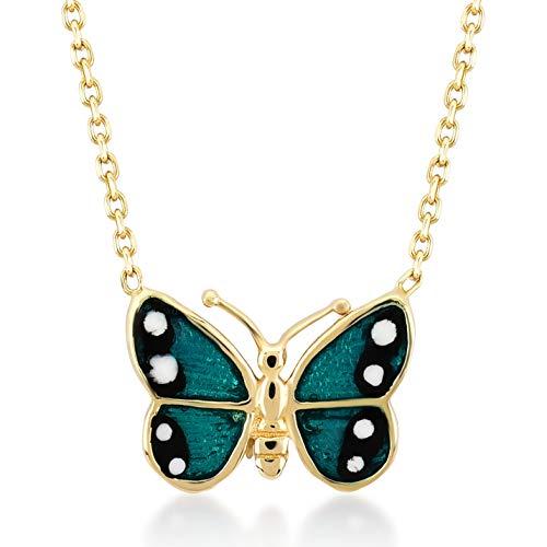 (Gelin 14k Real Gold Green Enamel Butterfly Chain Necklace for Women, 18 Inc)