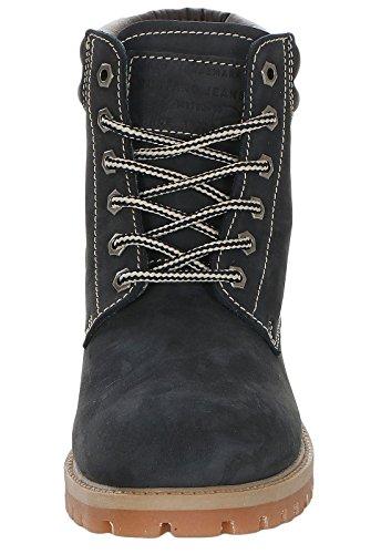 Mustang Shoes Damen Schuhe Leder Booties 2837-505 Navy