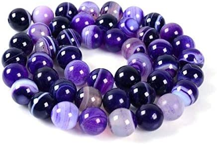 """Beads Bazar Natural Beautiful jewellery 8MM17 8mm Purple agate round ball loose gemstone beads 16""""Code:- NY-8945"""