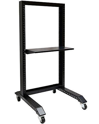 20U Movable 19'' 2 Post Open Frame Heavy Duty IT Network Data Server Rack - 19' Aluminum Rack Cabinet