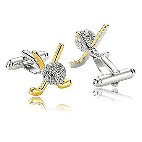 KnSam Men Stainless Steel French Cufflinks Golf Ball Suit Gold Silver [Shirt Cufflinks Wedding (Ball Watch Engineer Ohio)