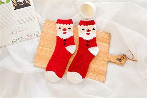 6 Pairs Co-Zees Ladies Christmas Socks Fluffy Christmas Sleep Socks Xmas Santa