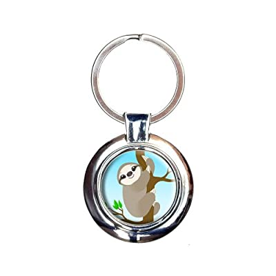 Sloth Just Hanging Around Keychain Key Ring - Made On Terra