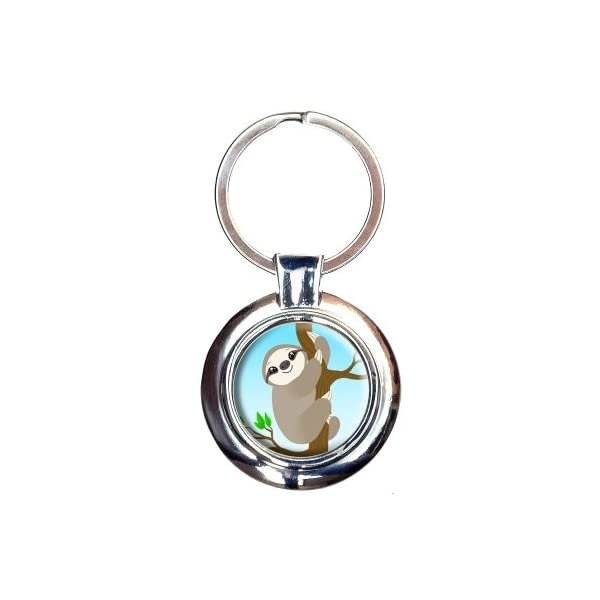 Sloth Just Hanging Around Keychain Key Ring -