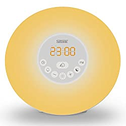 Alarm Clock Light,Sztook Sunrise Alarm Clock : Digital Clock,Bedside Lamp,Wake Up Light with Nature Sounds ,FM Radio,Touch Control,7 Colors Night Light
