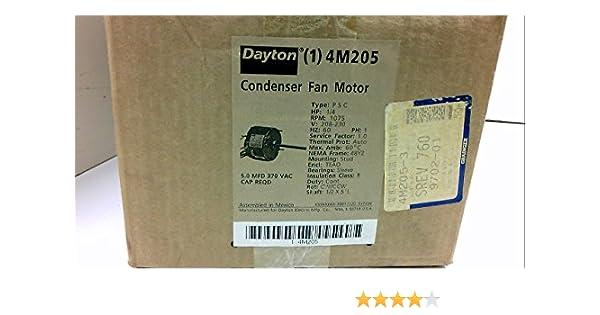 Dayton 4M205 Fan Motor, PSC, 1/4 HP, 1075, 208-230v, 48YZ on