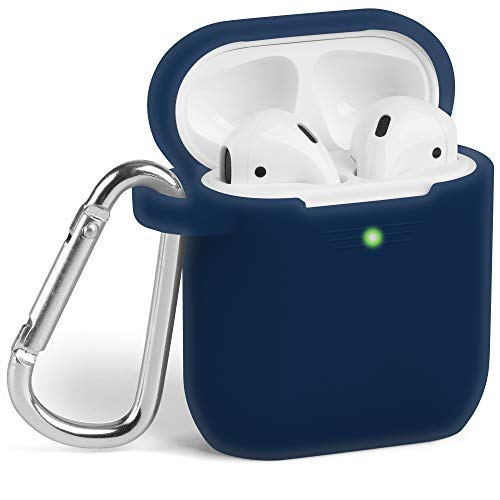 : Airpods Case, GMYLE Silicone Protective Shockproof Wireless Charging Airpods Earbuds Case Cover Skin with Keychain kit Set Compatible for Apple AirPods 1 & 2 2016-2019 - Navy Blue [Front LED Visible]