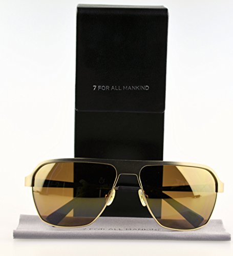 7 For All Mankind Ventura Square Sunglasses,Gold Frame/Gold Mirror Lens,one size