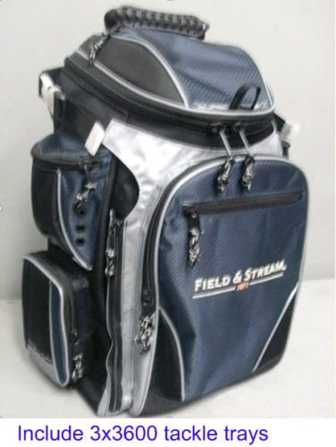 Field & Stream Angler Backpack with 3-3600 Size Fishing Tackle Utility Storage Boxes