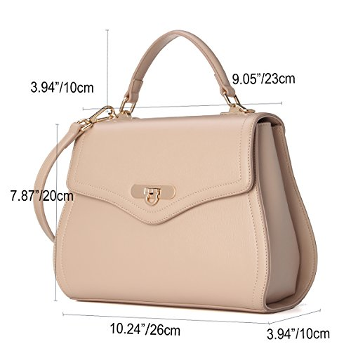 Purse Top with Beige Handbags Shape Shell Removable Leather Strap Handle Women Kadell 4qRB0