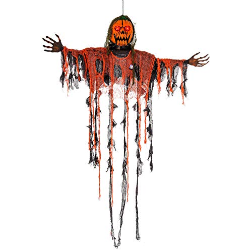 Halloween Haunters Animated Hanging 5 Foot Scary Orange Pumpkin Head Ghost Zombie Reaper Moving Jaw, Flashing LED Eyes Prop Decoration - Evil Laugh Sounds Haunted House Graveyard Entryway Display