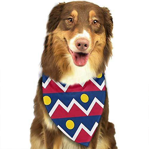 Dog Bandana Scarf Flag of Denver Colorado Funny Novelty Classic Triangle Bibs Kerchief Set Accessories for Cats Pets -