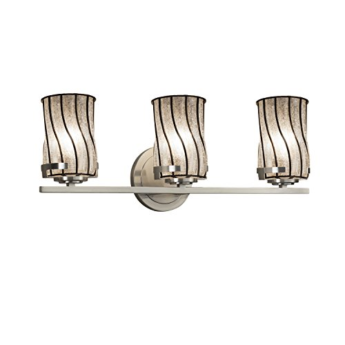 Justice Design Group Lighting WGL-8453-10-SWCB-NCKL-LED3-2100 Wire Glass Atlas LED 3-Light Bath Bar Finish Cage and Blown Swirl with Clear Bubbles-Cylinder with Flat Rim Shade, Brushed Nickel