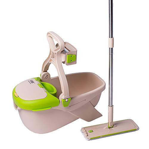 CQT Microfiber Mop Buckets Floors Cleaning System with 2 Washable Flat Mop Pads