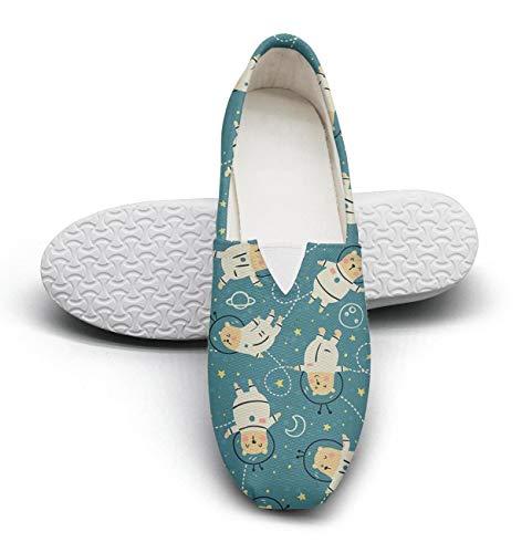 Green Mini Astronaut Bear Classics Women's Comfort Flat Boat Shoes Ladies Espadrille Flats