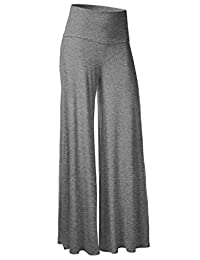 Honeystore Women's Comfy Chic High Waisted Long Palazzo Lounge Pant