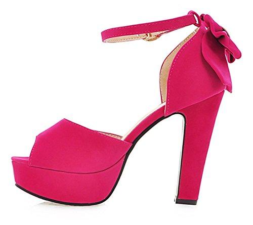 YE Damen Peep Toe Pumps mit Blockabsatz High Heels Plateau Knöchelriemchen Sandalen Sommer Schuhe mit Schleife Rose Red