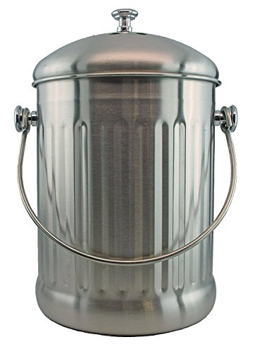 Stainless Steel 1 Gallon Compost Pail with Filter (Stainless Vertical)