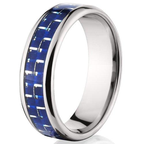 7 mm Titanium Rings w/ Blue Carbon Fiber, Men's Rings, Titanium Bands