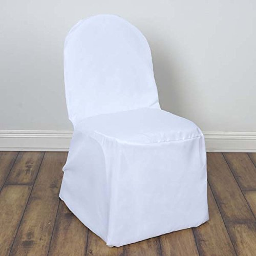 Efavormart 50pcs Round Top White Polyester Banquet Chair Covers Linen Dinning Chair slipcover for Wedding Party Event -