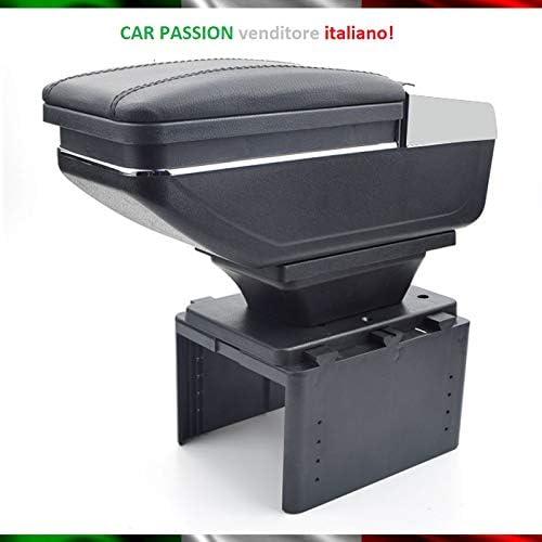Bracciolo Auto 500 500L 500X Punto Panda Mito Console Centrale In Pelle Nero Posacenere Poggiabraccio Vano Portaoggetti