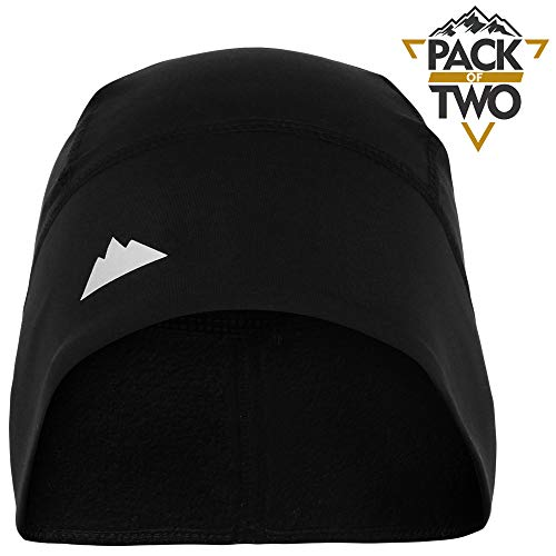 Tough Headwear Skull Cap/Helmet Liner/Running Beanie - Ultimate Thermal Retention and Performance Moisture Wicking. Fits Under Helmets (Black - 2 Pieces) (Best Beanie For Small Head)