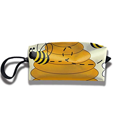 Cosmetic Bags With Zipper Makeup Bag Bumblebee Hive Middle Wallet Hangbag Wristlet Holder ()
