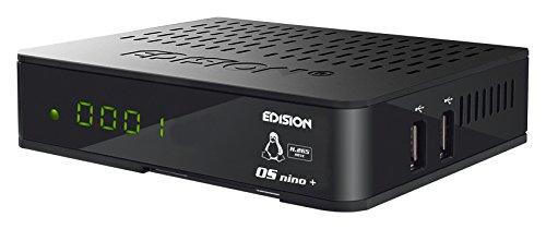 Receptor Edision OS Nino+ Full HD Linux E2 Combo - H.265/HEVC (1 DVB-S2, 1DVB-T2/C, WLAN, Bluetooth, 2 USB, HDMI, LAN, Linux, Lector de Tarjetas), Color Negro
