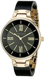 Anne Klein Women's AK/1958BKGB Gold-Tone and Black Resin Bangle Watch