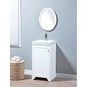 MAYKKE Wren 19 Inch Bathroom Vanity Set in Birch Wood White Finish, Single White Bathroom Vanity with Top and 1 Door Cabinet, Marion White Ceramic Sink Top with Single Faucet Hole YSA1451812 30%OFF