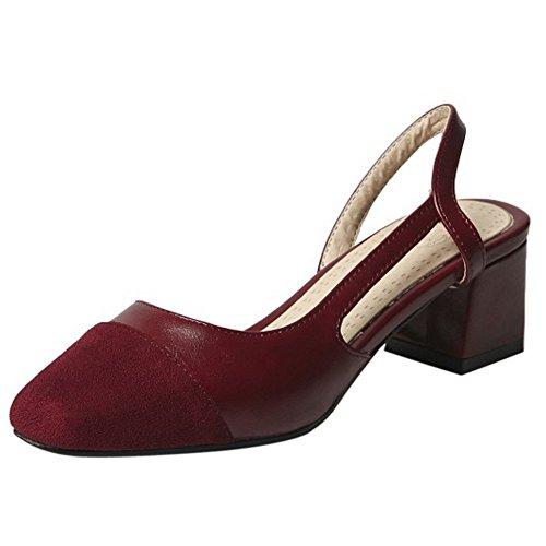 COOLCEPT Mujer Casual Tacon Medio Ancho Dorsay Sandalias Cerrado Slingback Zapatos Vino Rojo