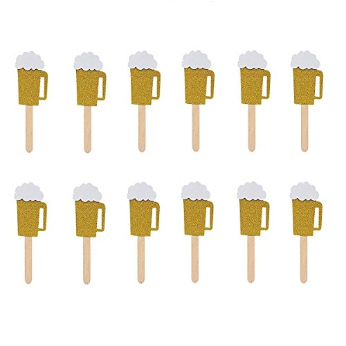 JANOU Beer Mug Gold Glitter Cake Topper Cupcake Decoration for Wedding Birthday Hawaii Luau Party Oktoberfest Supplies Pack 12pcs]()