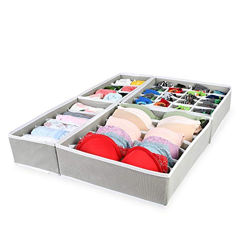 Simple Haus Designs Foldable Closet Underwear Organizer Drawer Divider for Bras Panties Socks Ties, Set of 4, Gray (Panty Drawer)