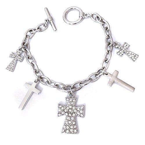 - Gypsy Jewels Silver Tone 5 Cross Charm Clear Rhinestone Dangle Toggle Bracelet