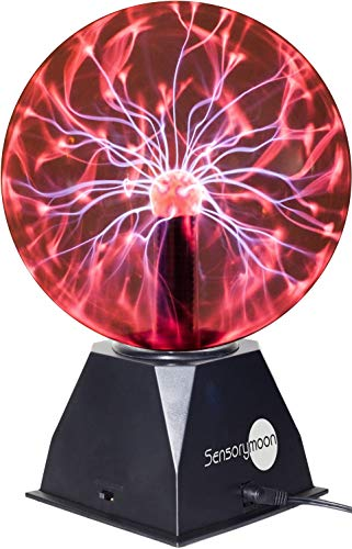 "SensoryMoon True 8"" Plasma Ball Lamp - Large Electric Globe Static Light w Touch, Sound Sensitive Lightning, Big 8 Inch Glass Sphere and Mini Tesla Energy Coil is Best Science Toy Nightlight for Kids"