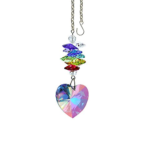 Crystal Suncatcher 3 inch Crystal Ornament Aurora Borealis Faceted Heart Prism Colorful Cascade Prisms Rainbow Maker Made with Genuine Swarovski Crystals -